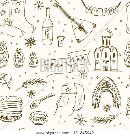 Hand drawn doodle Russia travel seamless pattern Sketchy Icons set. Travel Collection. Isolated vector illustration.