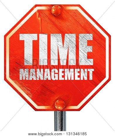 time management, 3D rendering, a red stop sign