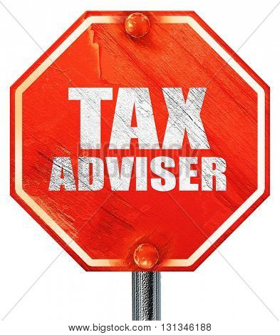 tax adviser, 3D rendering, a red stop sign
