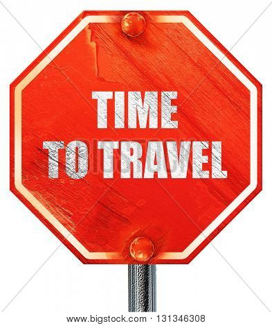 time to travel, 3D rendering, a red stop sign