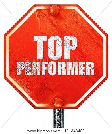 top performer, 3D rendering, a red stop sign