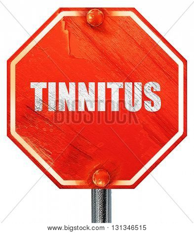 tinnitus, 3D rendering, a red stop sign