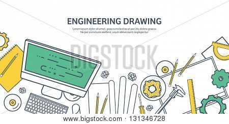 Lined, outline. Vector illustration. Engineering and architecture. Computer, software. Drawing, construction. Architectural project. Design, sketching. Workspace with tools. Planning, building.