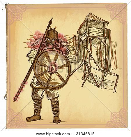 An hand drawn vector illustration colored line art. VIKING. Freehand sketch of an warrior Viking standing in front of tower of wood. Hand drawings are editable in groups. Colored paper is isolated.