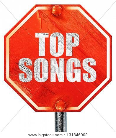 top songs, 3D rendering, a red stop sign