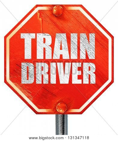 train driver, 3D rendering, a red stop sign