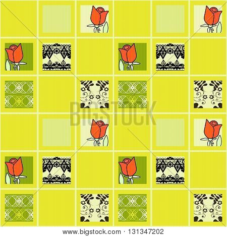 Patchwork floral roses pattern yellow background with decorative elements