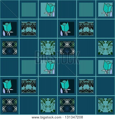 Patchwork floral roses pattern blue background with decorative elements
