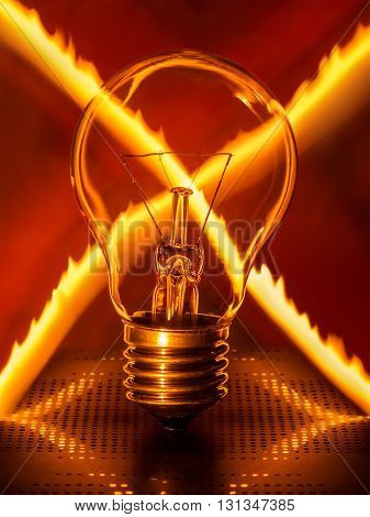 Light bulb on crossed fire trail background. No electricity, no lightbulb,  concept.