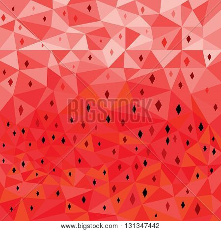 Modern design low poly poster on a abstract watermelon background. Vector background for summer party, card, watermelon poster, greeting, invitation cards.