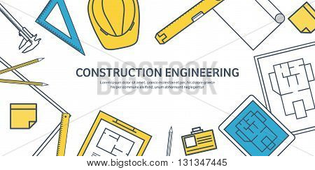 Lined, outline. Vector illustration. Engineering and architecture. Tablet, software. Drawing, construction. Architectural project. Design, sketching. Workspace with tools. Planning, building.