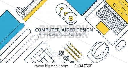 Lined, outline. Vector illustration. Engineering and architecture. Notebook, software. Drawing, construction. Architectural project. Design, sketching. Workspace with tools. Planning, building.