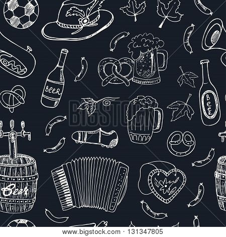 Hand drawn doodle Germany travel seamless pattern.Sketchy Icons set. Travel Collection. Isolated vector illustration.