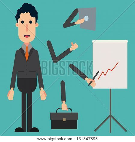 Businessman Character Set, Businessman, Vector, Businessman Web