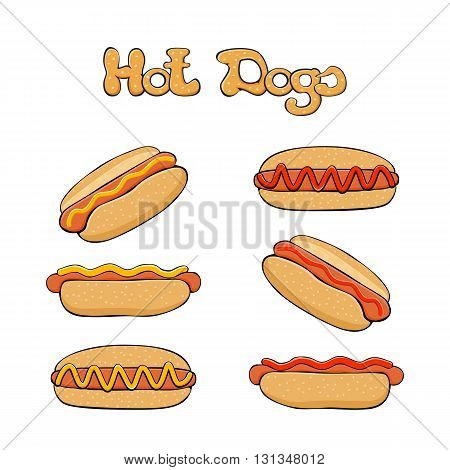 Hot dog on white background, fast food with sausage and bun, set of hot dogs with mustard and ketchup, illustration.