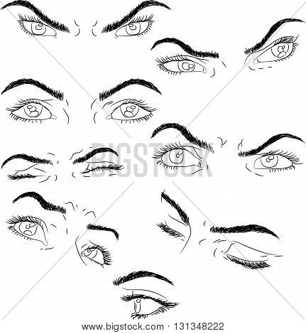 man and woman isolated vector eyes and eyebrows silhouette, face parts,