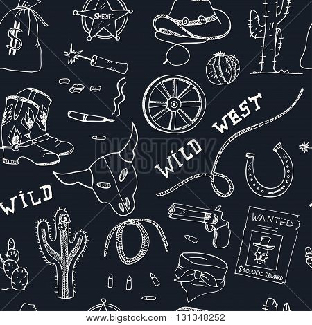 Hand drawn wild west seamless pattern Sketches. Hand-drawing. Vector illustration of for design and packages product.