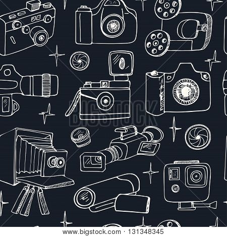Photo and movie hobby cameras seamless pattern isolated vector illustration