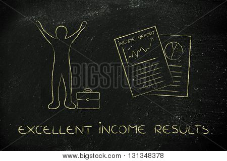 Income Report And Happy Business Man, Excellent Income Results
