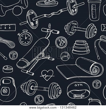 seamless pattern with Fitness bodybuilding diet and health care sketch icons. Isolated vector illustration