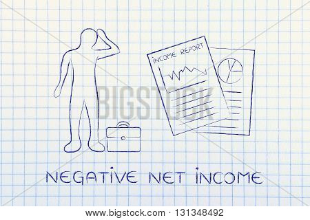 Income Results & Stressed Business Man, Negative Net Income