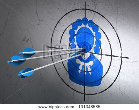 Success law concept: arrows hitting the center of Blue Judge target on wall background, 3D rendering