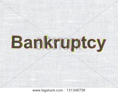 Law concept: CMYK Bankruptcy on linen fabric texture background
