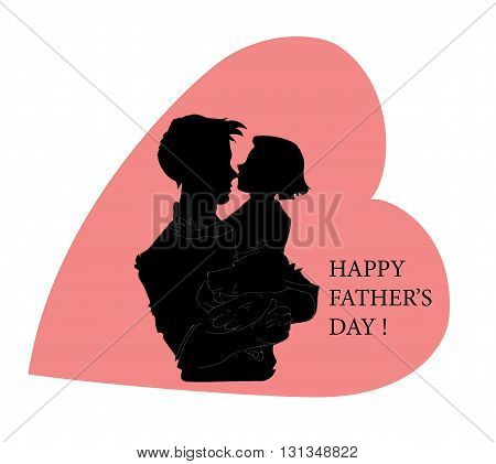 Happy Father's Day. in the shape of a heart. Text. Postcard. Vector