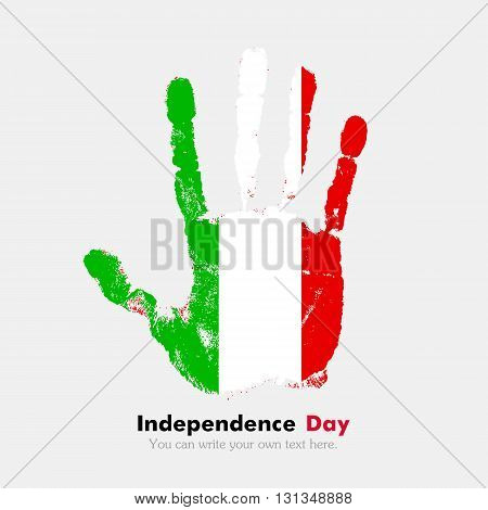 Hand print, which bears the Flag of Italy. Independence Day. Grunge style. Grungy hand print with the flag. Hand print and five fingers. Used as an icon, card, greeting, printed materials.