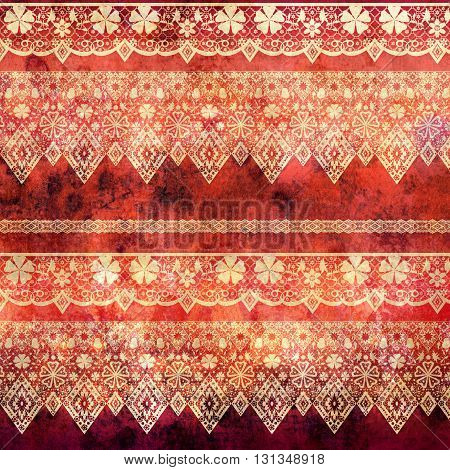 Lace fabric red pattern with flowers and lace grunge vintage style background