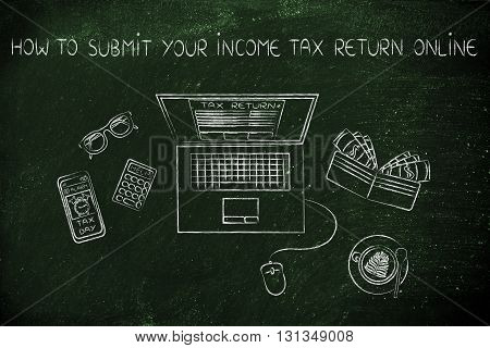 Tax Forms On Laptop Screen With Office Objects, How To Submit