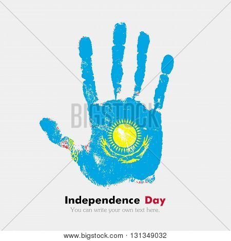Hand print, which bears the Flag of Kazakhstan. Independence Day. Grunge style. Grungy hand print with the flag. Hand print and five fingers. Used as an icon, card, greeting, printed materials.
