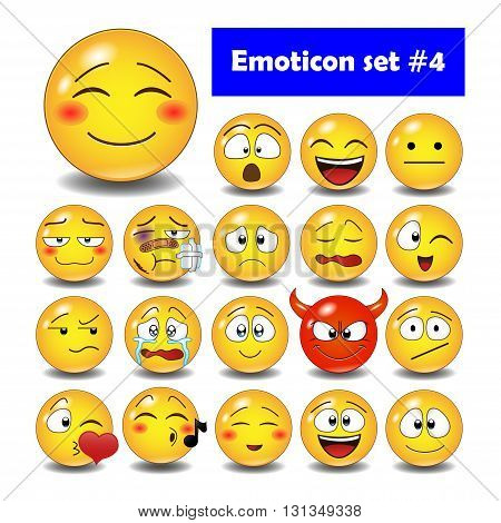 Set of cute smiley emoticons, emoji flat design, vector illustration.