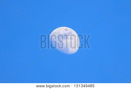 Moon closeup on light blue sky