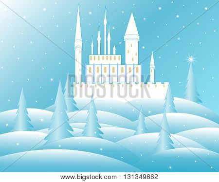 Vector snow queen's castle in frozen forest