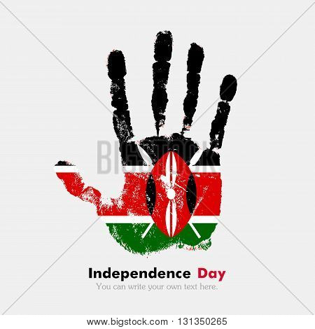 Hand print, which bears the Flag of Kenya. Independence Day. Grunge style. Grungy hand print with the flag. Hand print and five fingers. Used as an icon, card, greeting, printed materials.