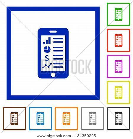 Set of color square framed mobile application flat icons