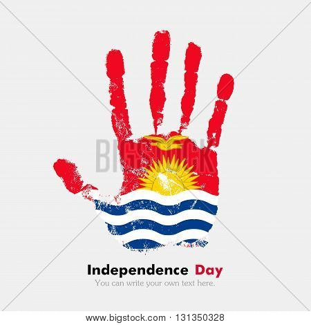 Hand print, which bears the Flag of Kiribati. Independence Day. Grunge style. Grungy hand print with the flag. Hand print and five fingers. Used as an icon, card, greeting, printed materials.