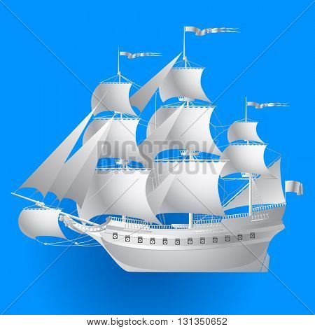 Paper sailing ship on blue background. Vector illustration