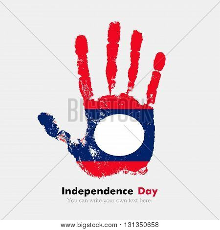 Hand print, which bears the Flag of Laos. Independence Day. Grunge style. Grungy hand print with the flag. Hand print and five fingers. Used as an icon, card, greeting, printed materials.