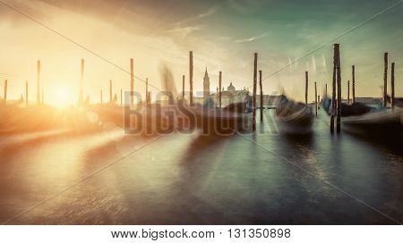 Beautiful Venice view under sunlight. Long exposure