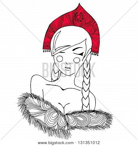 Pretty russian woman in national red head dress cocoshnic. Image can be used as adult coloring book, coloring page, card, invitation.