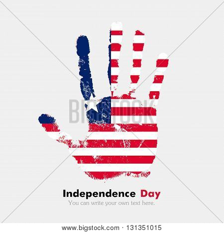 Hand print, which bears the Flag of Liberia. Independence Day. Grunge style. Grungy hand print with the flag. Hand print and five fingers. Used as an icon, card, greeting, printed materials.