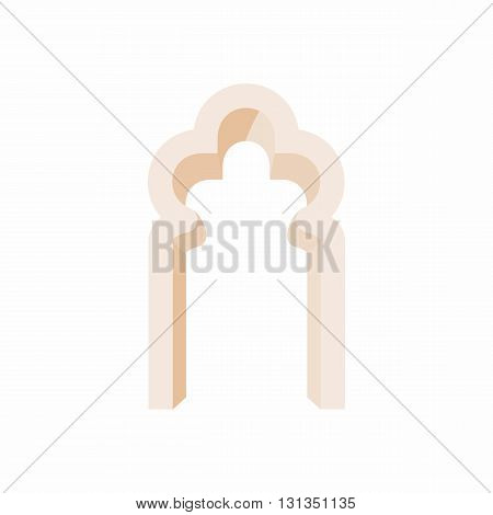 Trefoil arch icon in cartoon style on a white background