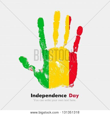 Hand print, which bears the Flag of Mali. Independence Day. Grunge style. Grungy hand print with the flag. Hand print and five fingers. Used as an icon, card, greeting, printed materials.