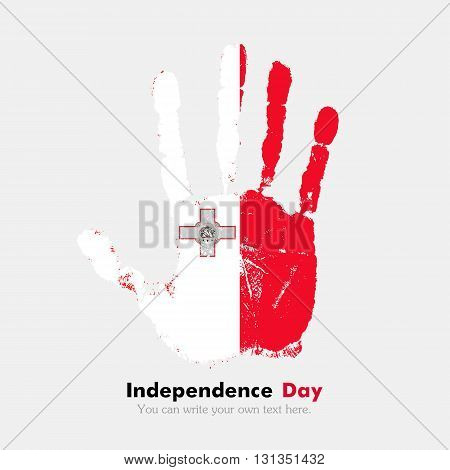 Hand print, which bears the Flag of Malta. Independence Day. Grunge style. Grungy hand print with the flag. Hand print and five fingers. Used as an icon, card, greeting, printed materials.