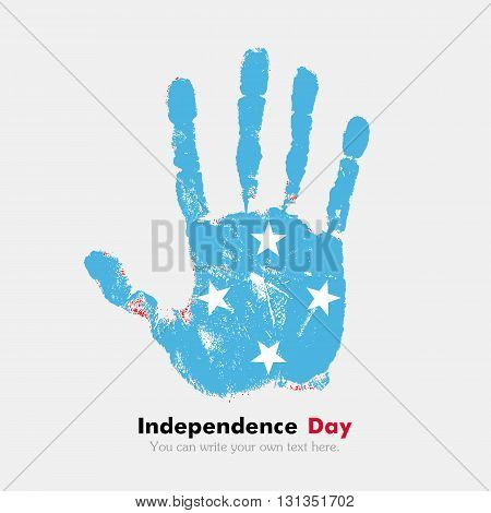 Hand print, which bears the Flag of Micronesia. Independence Day. Grunge style. Grungy hand print with the flag. Hand print and five fingers. Used as an icon, card, greeting, printed materials.