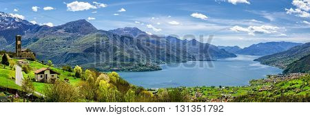 Lago di Como (Lake Como) high definition panorama from Peglio