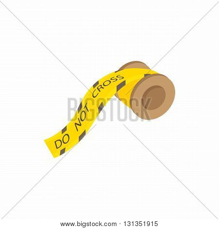 Yellow plastic do not cross tape icon in cartoon style on a white background