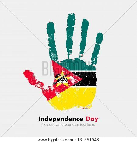 Hand print, which bears the flag of Mozambique. Independence Day. Grunge style. Grungy hand print with the flag. Hand print and five fingers. Used as an icon, card, greeting, printed materials.